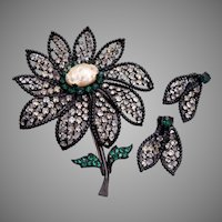 Weiss Large Daisy Japanned Metal Brooch and Earring Set