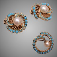 Ciner Pearl and Turquoise Earrings and Brooch Set