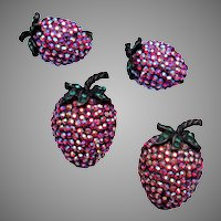 2 Weiss Strawberry Brooches and Earring Set