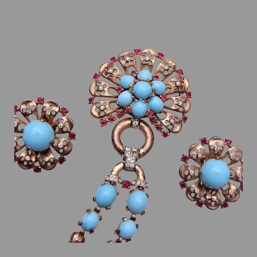 Trifari 1946 Sterling Turquoise Dangling Brooch and Earring Set