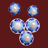 Sterling Filigree and Blue Enamel Brooch/Pendant and Pierced Earrings