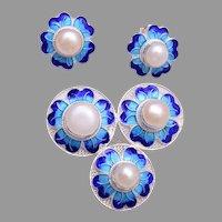 Sterling Filigree and Blue Enamel Brooch/Pendant and Pierced Earrings