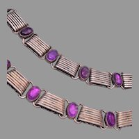 Mexico 980 and Amethyst Necklace and Bracelet Set