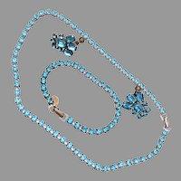 Small Aqua Rhinestone Set with Religious Charm