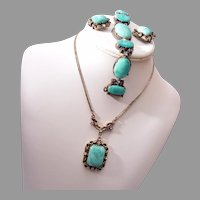 3 Piece Green Lucite, Metal and Rhinestone Set