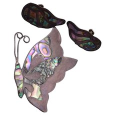 Mexican Sterling and Abalone Butterfly Brooch and Earrings