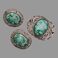Chinese Filigree with Green Painted Stone