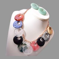 Colorful Natural Stone Necklace and Earring Set