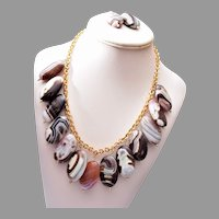 Real Stone Necklace and Earring Set