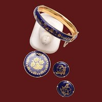 Enameled Hinged Bracelet, Brooch and Pierced Earring Set