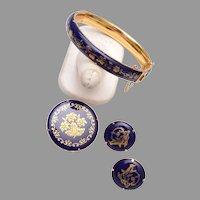 Enameled Hinged Bracelet, Brooch and Pierced Earring Set