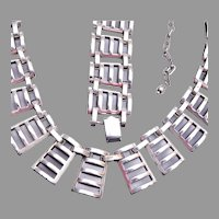 Silver Tone Mod Necklace and Bracelet Set