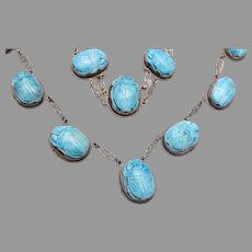 Sterling Turquoise Scarabs Necklace and Bracelet Set