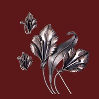 Sterling Lilly Brooch and Earring Set