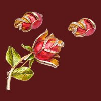 Enameled Rose Brooch and Earring Set