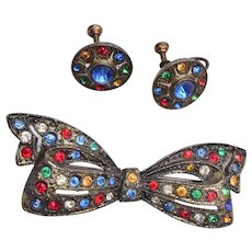 Czech Colorful Bow and Earring Set