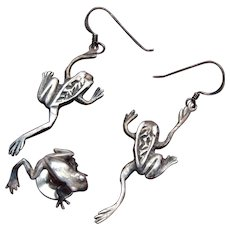 Sterling Pierced Frog Earrings and Lapel Pin Set