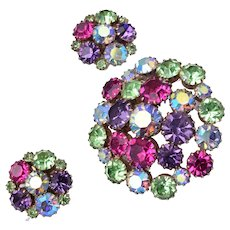 Karu Arke Colorful Rhinestone Brooch and Earring Set