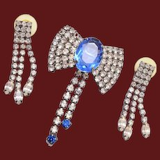 Blue Rhinestone Brooch and Pierced Earring Set