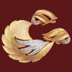 2 Tone Gold and Silver Brooch and Earring Set