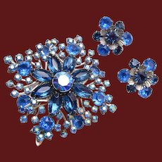Beaujewels Blue Rhinestone Brooch and Earring Set