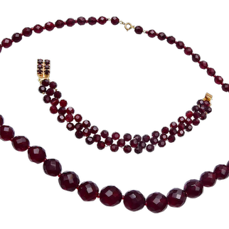 Faceted Red Crystal Necklace and Bracelet
