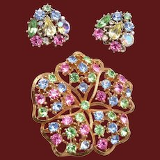 Pastel Colored Rhinestone Brooch and Earrings