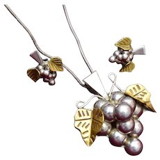 Sterling Mexico Necklace or Pendant and Earring Grape Set