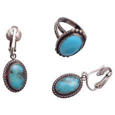 Native American Sterling and Turquoise Ring and Earrings Size 5-1/4
