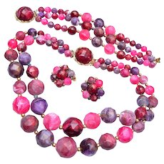 Pink and Purple Plastic Beaded Necklace, Bracelet and Earring Set