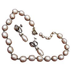 Miriam Haskell Baroque Pearl Necklace and Earring Set