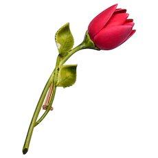 Enameled Rose Bud Brooch