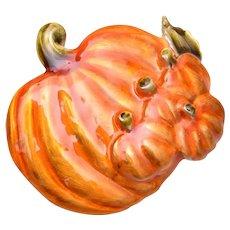 5 Orange Enameled Pumpkins Brooch