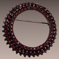 Warner Garnet Colored Circle Brooch
