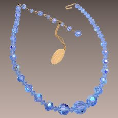 Blue Austrian Crystal Necklace with Original Tag