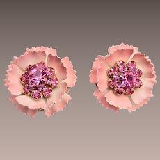 Pink Enameled and Rhinestone Earrings