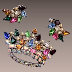 B. David Colorful Crown Brooch and Earring Set