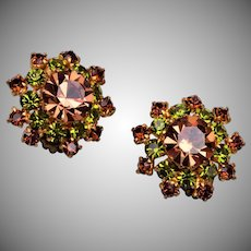 Made in Austria Green and Light Brown Rhinestone Earrings