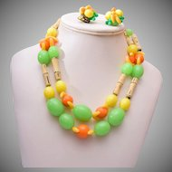 West Germany Plastic Fruit Necklace and Earrings