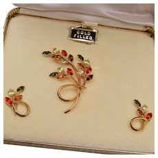 Jewels by Dansal Gold Filled Brooch and Earring Set