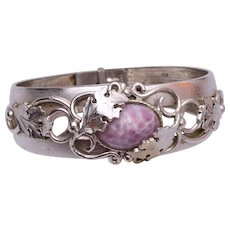 Whiting and Davis Hinged Bracelet with Purple Stone