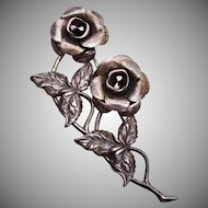 Sterling Double Rose Brooch