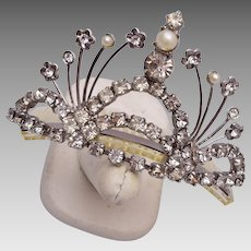 Pearl and Rhinestone Hair Comb Ornament