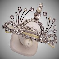 Pearl and Rhinestone Hair Comb - Small Tiara