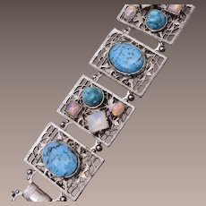 Faux Turquoise, Opal and Moonstone Bracelet