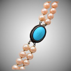 2 Strand Faux Pearl Necklace Tied In Between with Turquoise Clasp