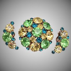 Weiss Green and Yellow Rhinestone Brooch and Earring Set