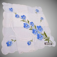 Swiss Blue Embroidered Handkerchief