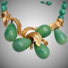Marvella Green Lucite and Gold Tone Necklace