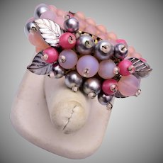 Made in Germany Pink Glass and Faux Pearl Bracelet